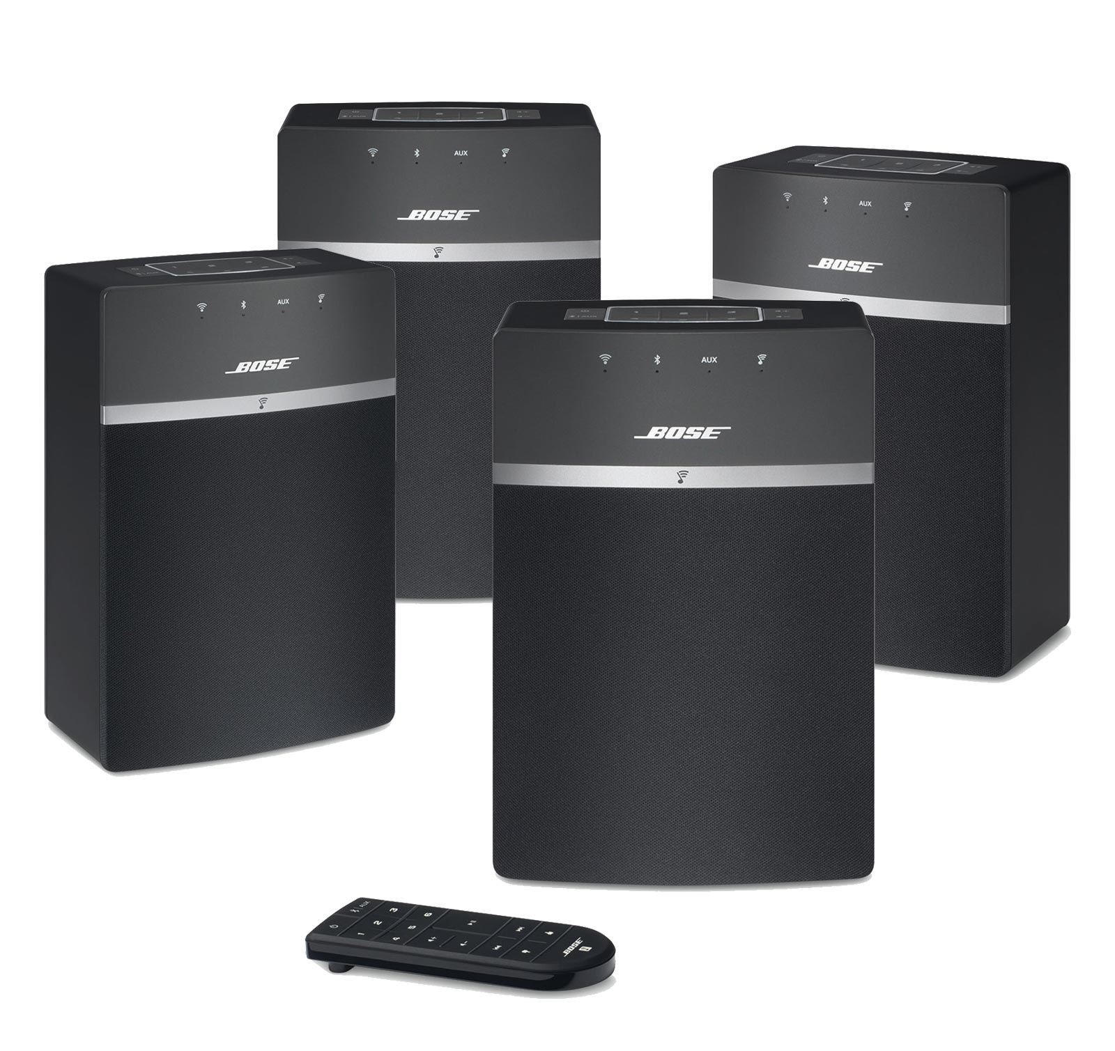 bose soundtouch 10 black 4 pack bundle multi room wi fi. Black Bedroom Furniture Sets. Home Design Ideas